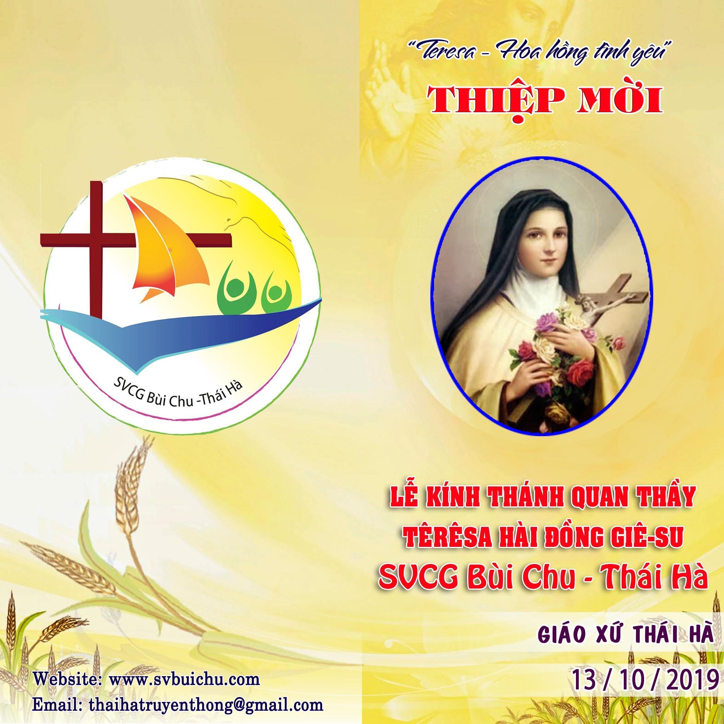 Thư Mời LỄ TRUYỀN THỐNG LẦN THỨ V – NĂM 2019 – Nhóm SVCG Bùi Chu – Thái Hà